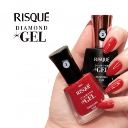 Kit esmalte risqué diamond gel cor vermelho cereja de 9,5ml + top coat fixador de 9,5ml