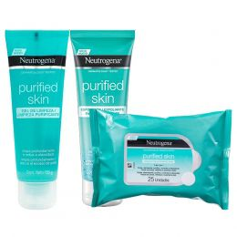 KIT PURIFIED SKIN NEUTROGENA - GEL LIMPEZA + ESFOLIANTE + LENÇO DEMAQUILANTE MICELAR