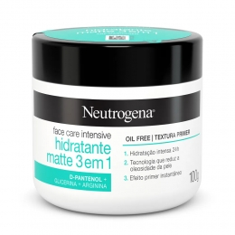 Neutrogena Face Care Intensive Hidratante Matte 3 em 1 Oil Free com Textura Leve 100g