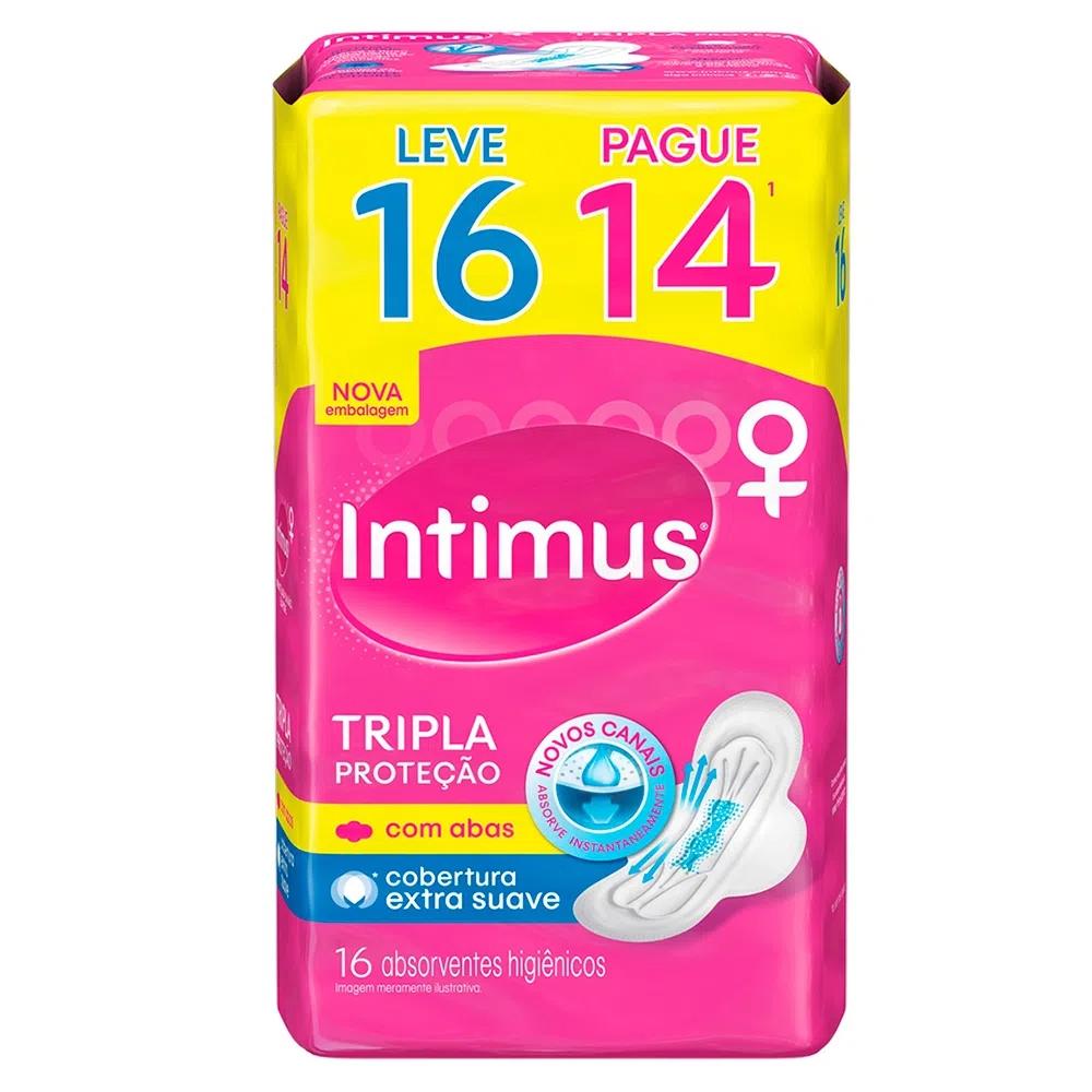 Absorvente Intimus Gel Tripla Cobertura Extra Suave Com Abas - Leve 16 Pague 14