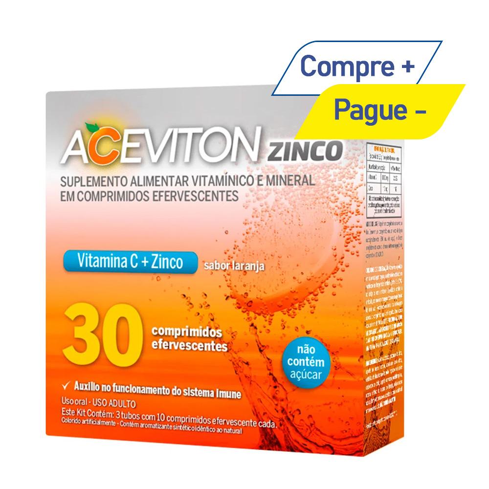 Aceviton - Vitamina C 1g + Zinco10mg - Sabor Laranja - 30 Comprimidos Efervescentes
