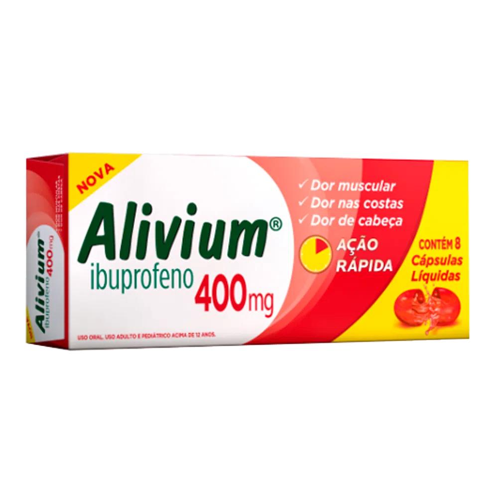 Alivium 400mg/ml - Para Febre e Dores - c/ 8 caps