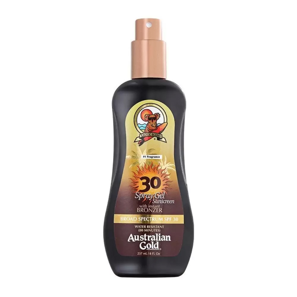 Australian Gold SPF 30 Spray Gel Sunscreen Instant Bronzer- Bronzeador 237ml