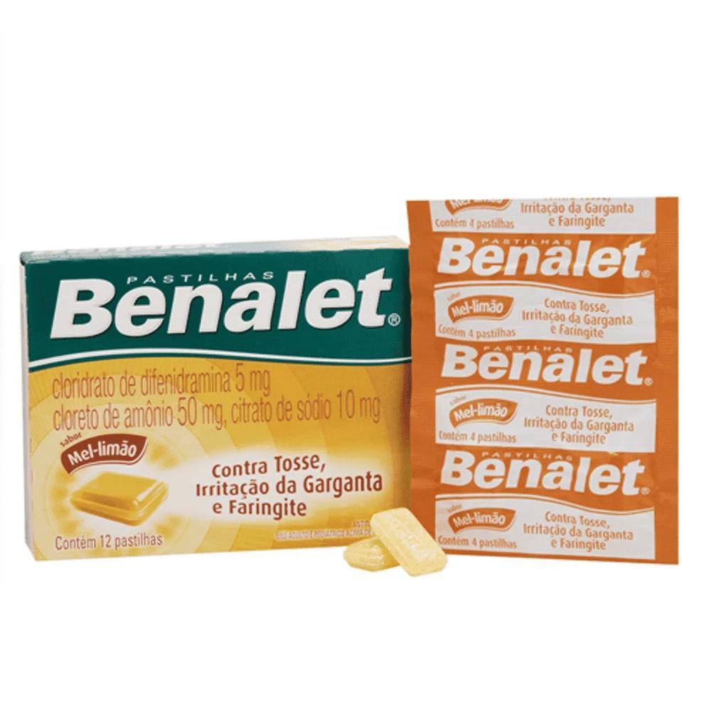 Benalet - Alívio Dor de Garganta - com 12 Pastilhas - Sabor Mel e Limão