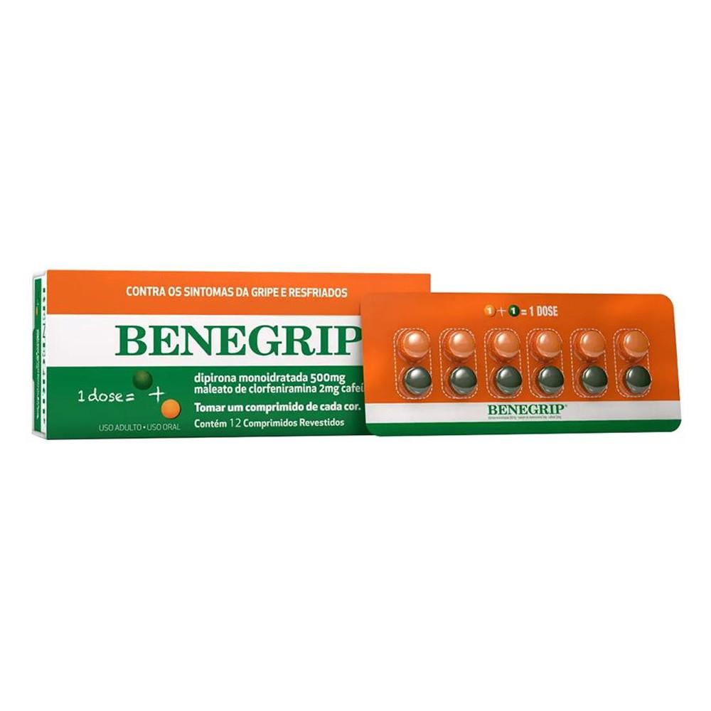 Benegrip - Alívio para Dores de Cabeça e Gripe - c/ 12 cps