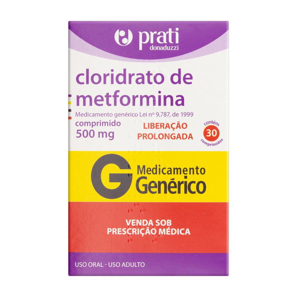 Cloridrato de Metformina XR 500mg - 30 Comprimidos de Liberação Prolongada - Prati