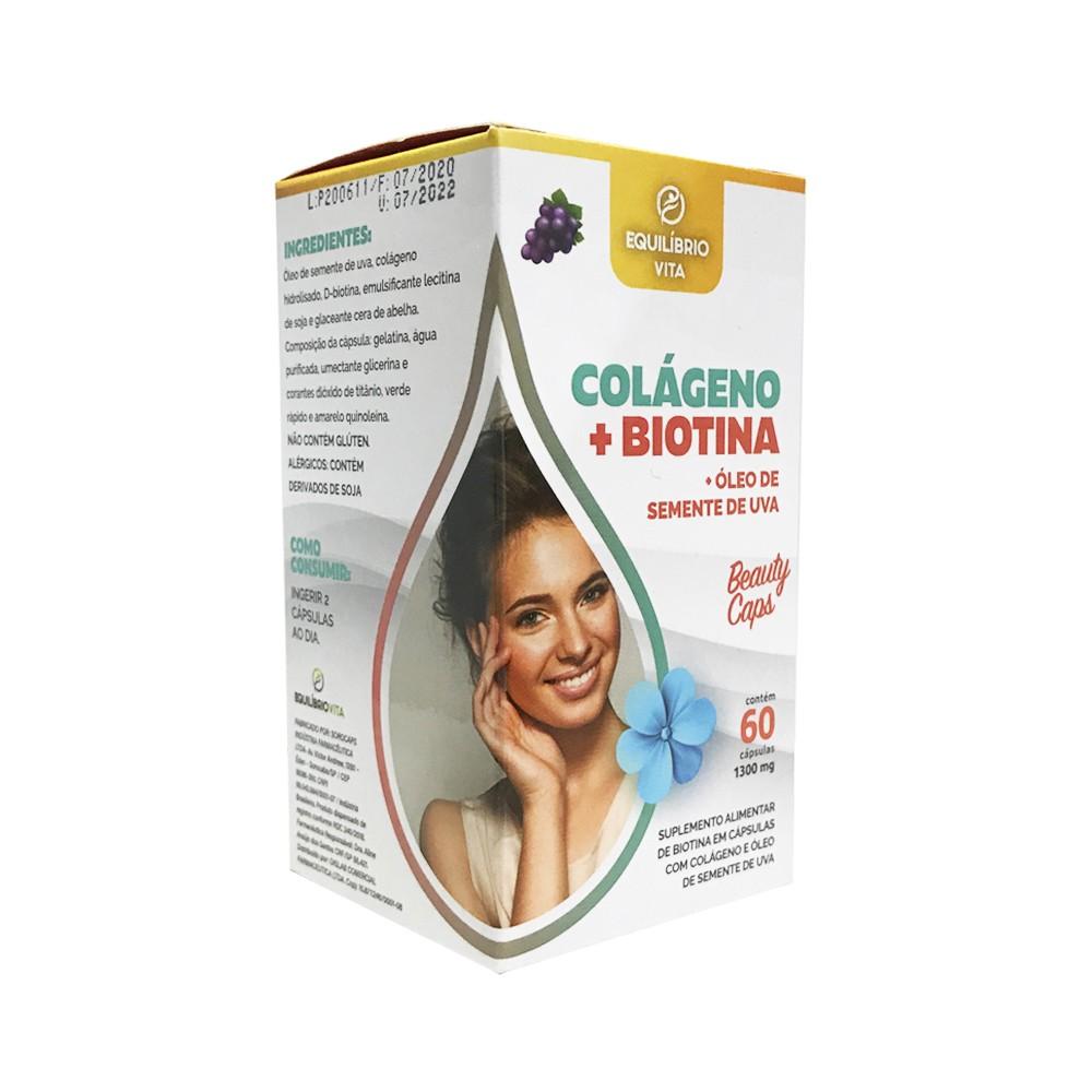 Colágeno + Biotina + Óleo de Semente de Uva - 60caps - Equilíbrio Vita