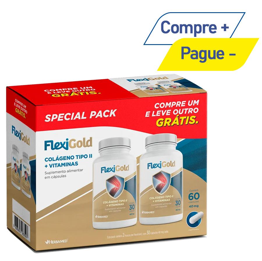 Colágeno Tipo II + Vitaminas - Flexigold com 30 Cápsulas + 30 Cápsulas Grátis