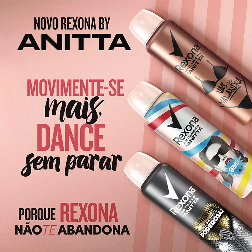 Desodorante Aerosol Feminino Rexona By Anitta - Show das Poderosas - 150ml
