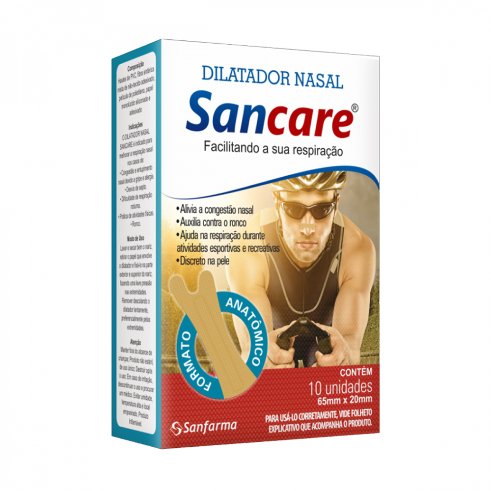 Dilatador Nasal SanCare Masculino com 10 Unidades