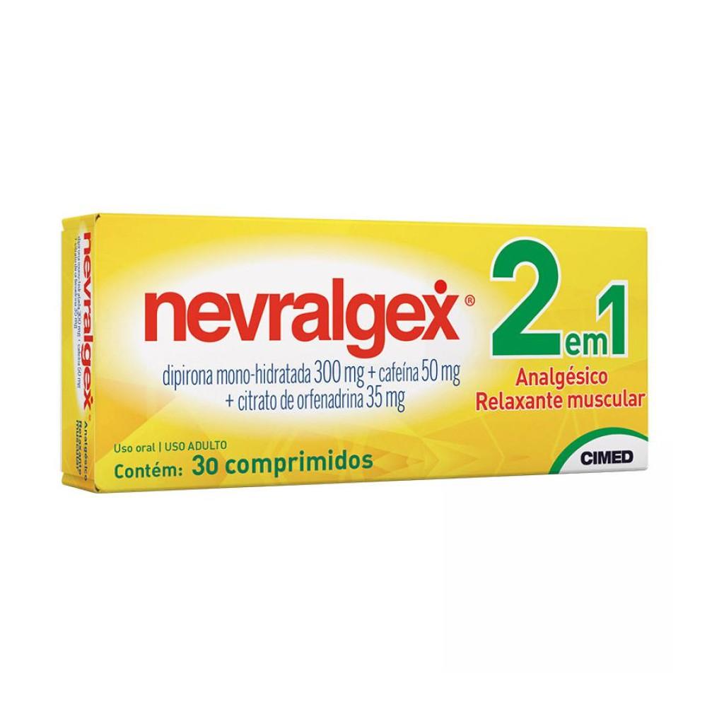 Dipirona + Orfenadrina + Cafeína - Nevralgex 30 Comprimidos
