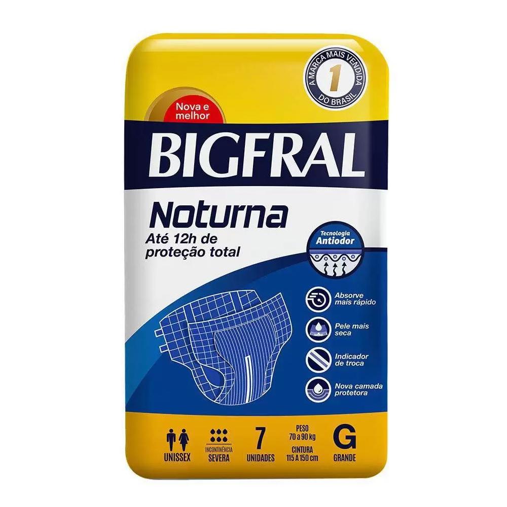 Fralda Geriátrica Bigfral Noturna Tamanho G com 07 unidades