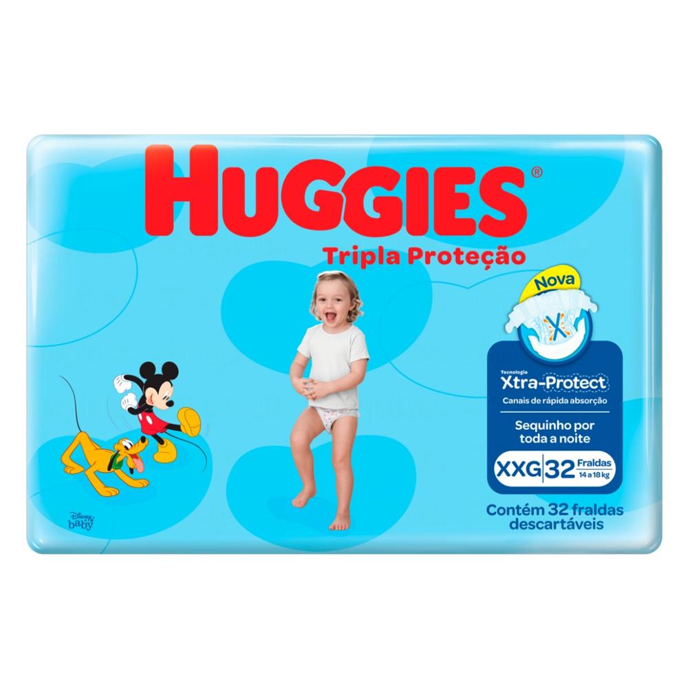 Fralda Huggies Tripla Proteção - Mega XXG com 32 Unidades