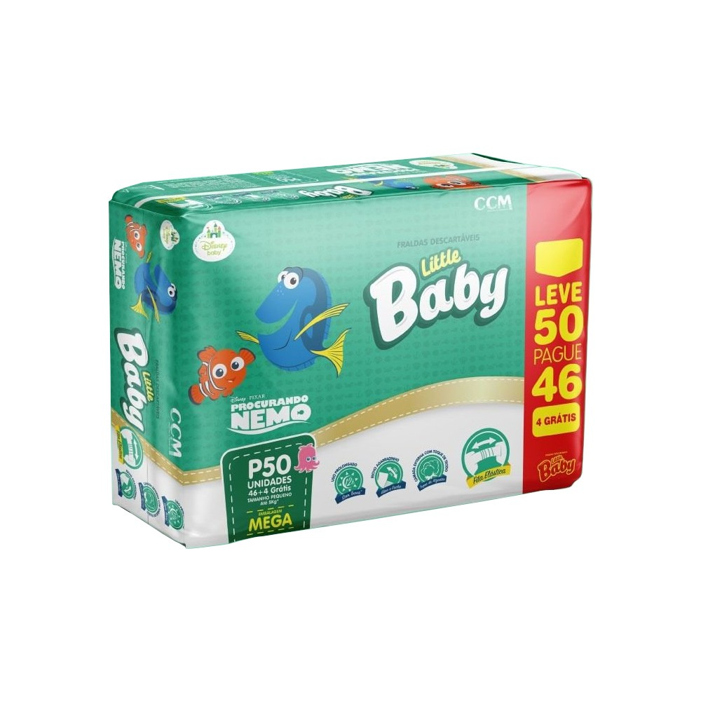 FRALDA LITTLE BABY PROCURANDO NEMO TAM. 9 - ATE 5KG LEVE 50 PAGUE 46 UNIDADES