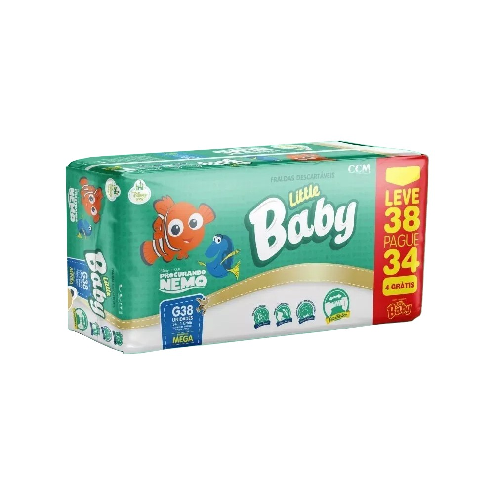 Fralda little baby procurando nemo tam. G - 10 a 13kg leve 38 pague 34 unidades