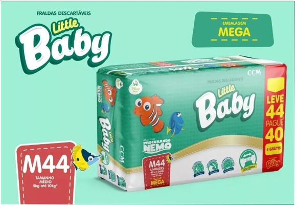 FRALDA LITTLE BABY PROCURANDO NEMO TAM. M - 5 A 10KG LEVE 44 PAGUE 40 UNIDADES