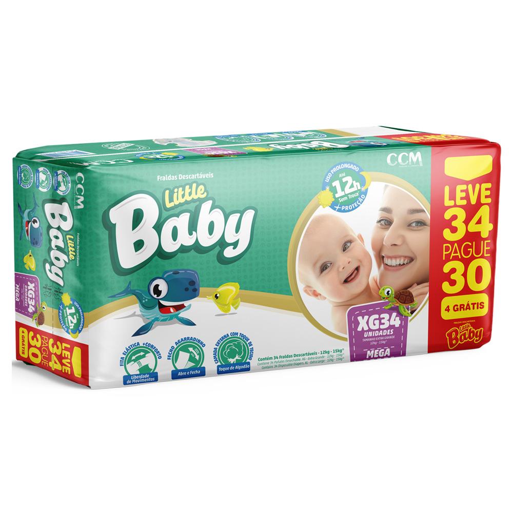 Fralda Little Baby Tamanho XG dos 12 a 15kg - Leve 34 Pague 30 unidades