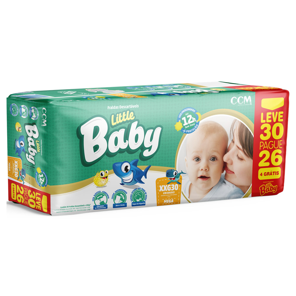 Fralda Little Baby Tamanho XXG - +15kg - Leve 30 Pague 26 unidades