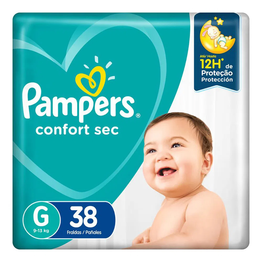 Fralda Pampers Confort Sec Tamanho G  - 9 a 12,5kg com 38 Unidades
