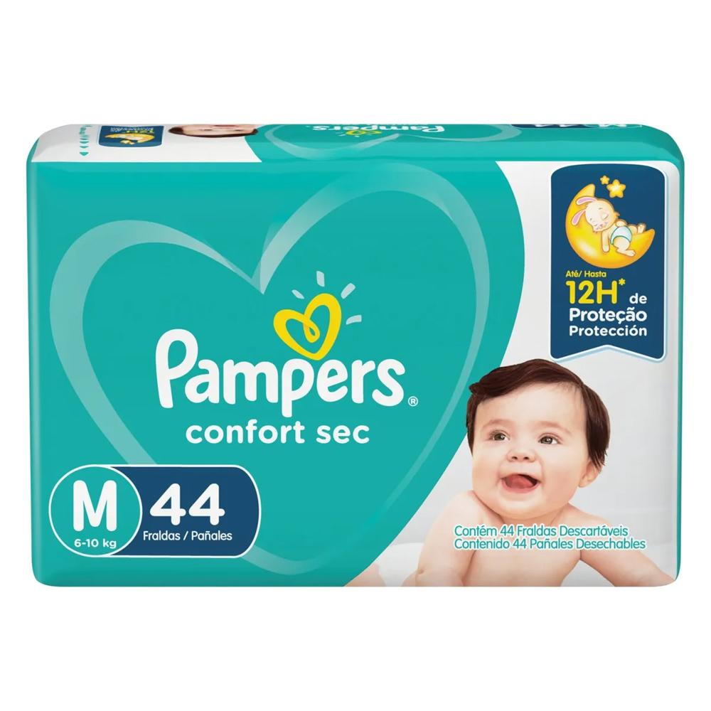 Fralda Pampers Confort Sec Tamanho M  - 6 a 10kg com 44 Unidades