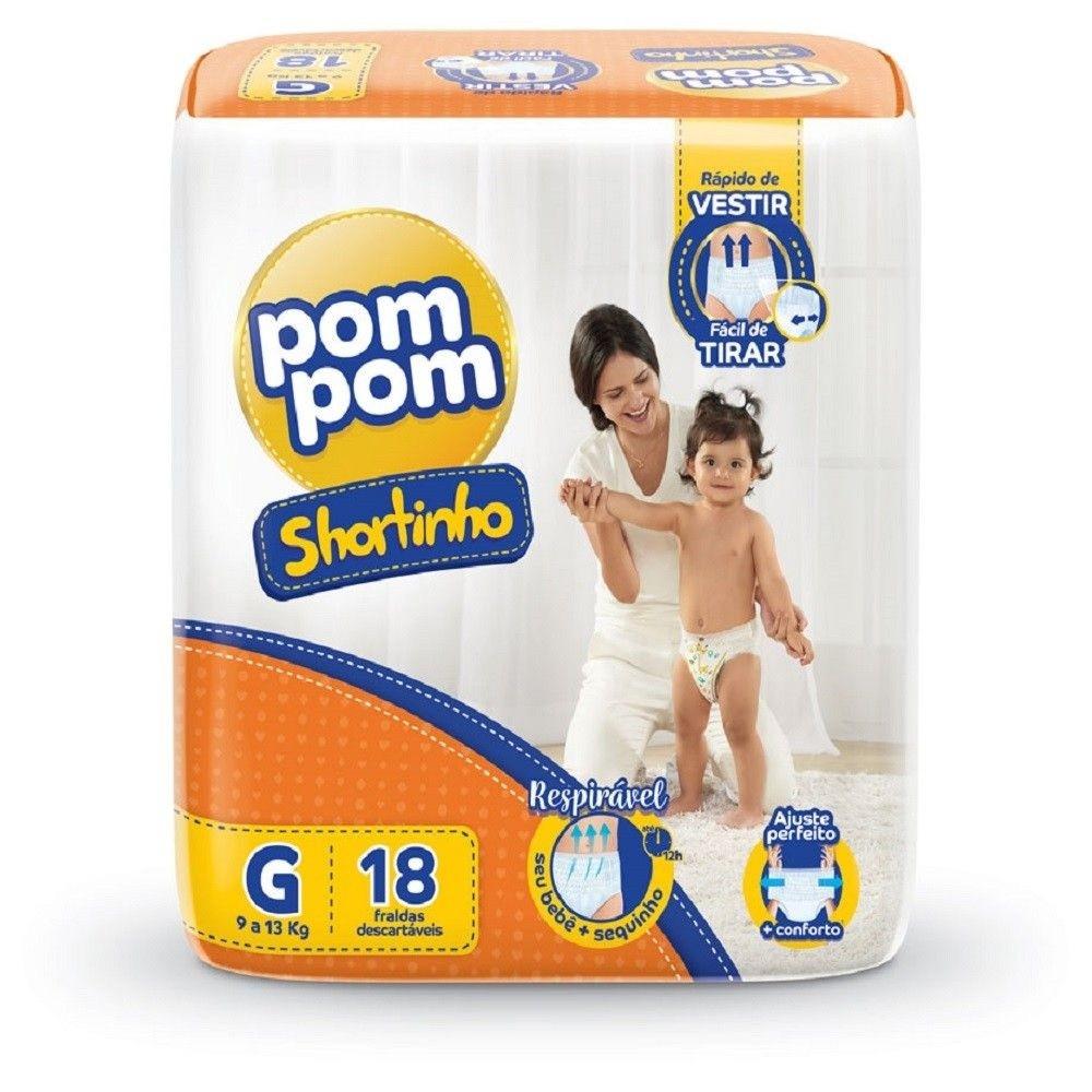 Fralda pompom shortinho g c/18