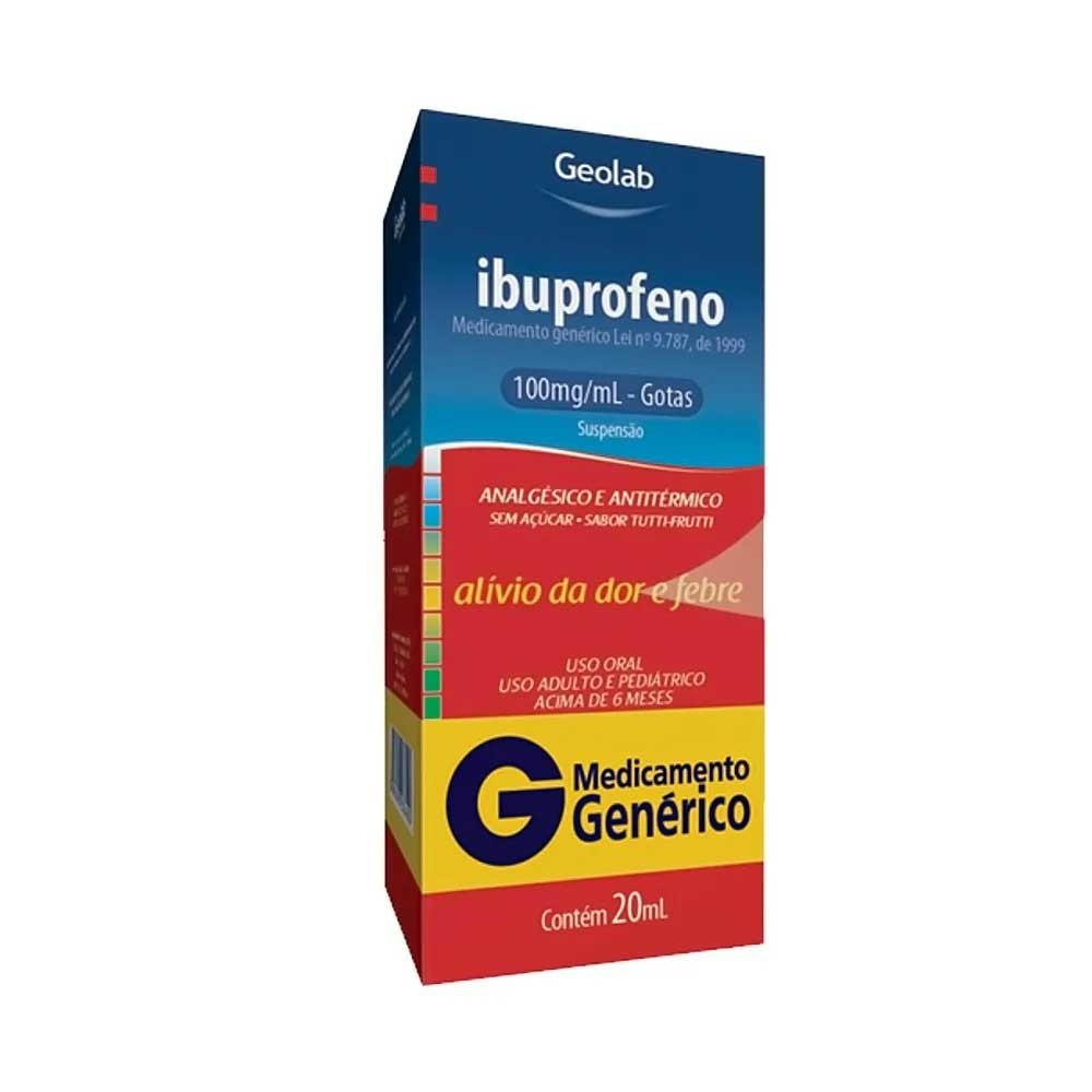 Ibuprofeno 100mg/ml Gotas Sabor Tutti-Frutti 20ml - Geolab - Genérico (sem açúcar)