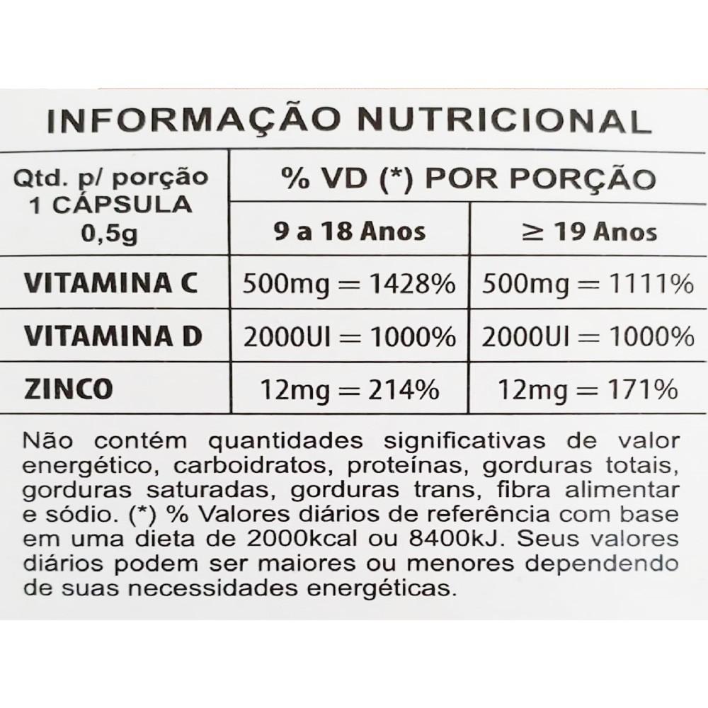 IMUFORT - SUPLEMENTO ALIMENTAR COM VITAMINA C, D E ZINCO - 30 CAPS