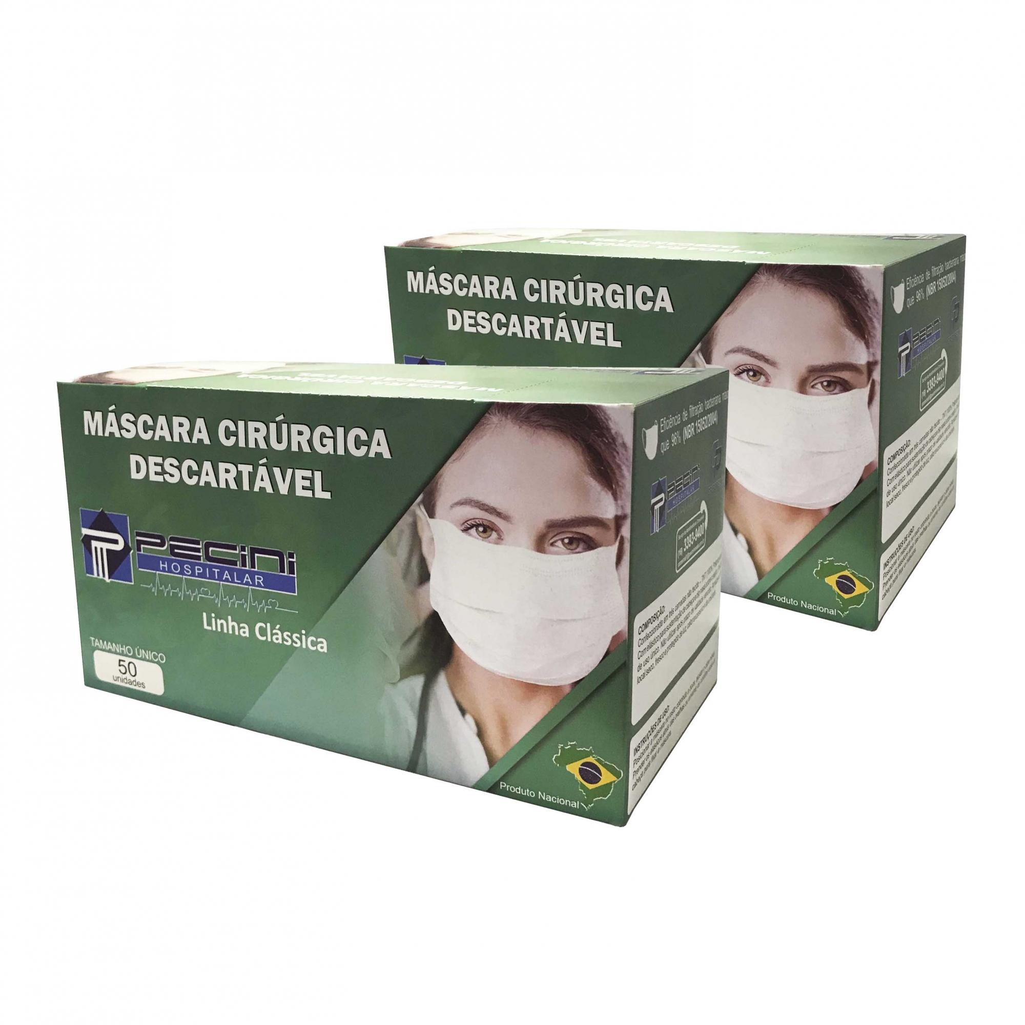 Kit 2 Embalagens - Máscara Descartável Cirúrgica Tripla com Elástico - Linha Clássica - com 50 Unidades Cada