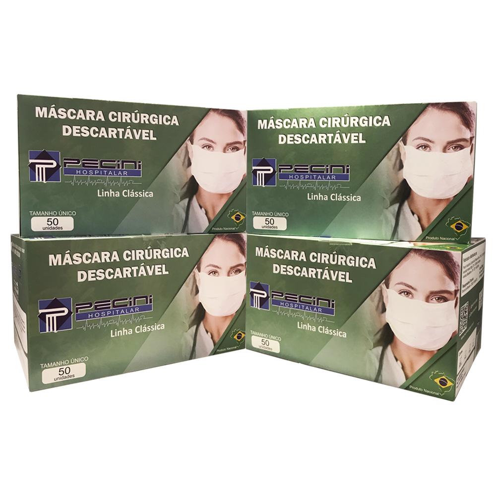 Kit 4 Embalagens - Máscara Descartável Cirúrgica Tripla com Elástico - Linha Clássica - com 50 Unidades Cada