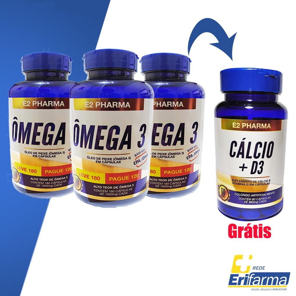 Kit Suplemento - Compre 03 Ômega 3 E2-Pharma 180cps e Ganhe 01 Cálcio + Vitamina D3 60cps