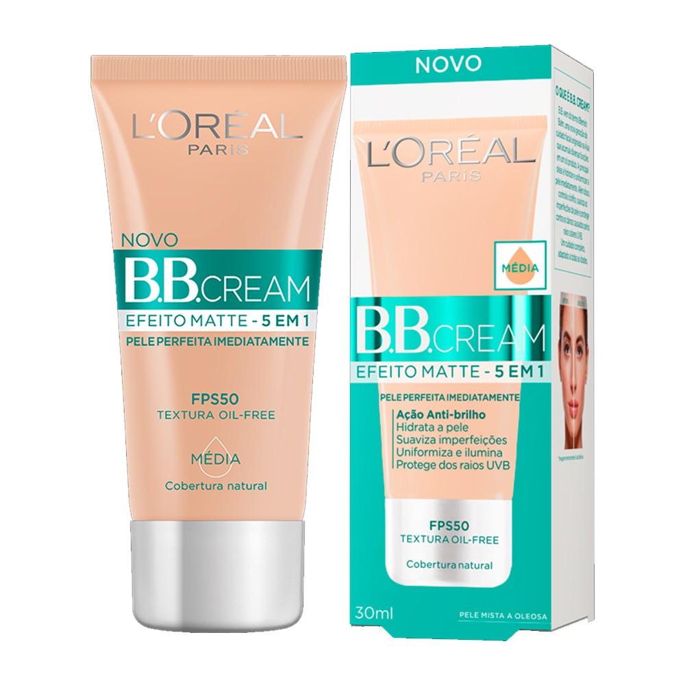 BB Cream Efeito Matte 5 em 1 FPS 50 Pele Média 30ml - L'oréal Paris