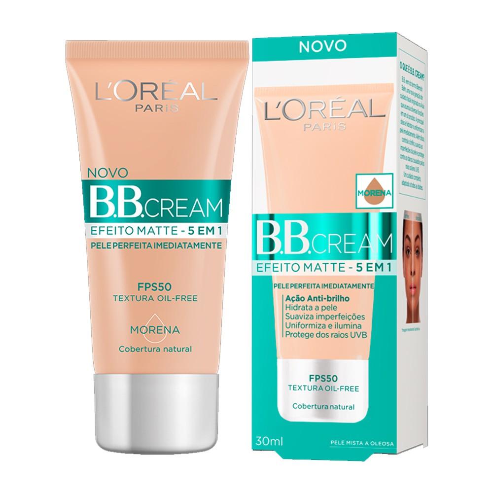 Lançamento - bb cream efeito matte 5 em 1 fps50 pele morena 30ml - l'oréal paris