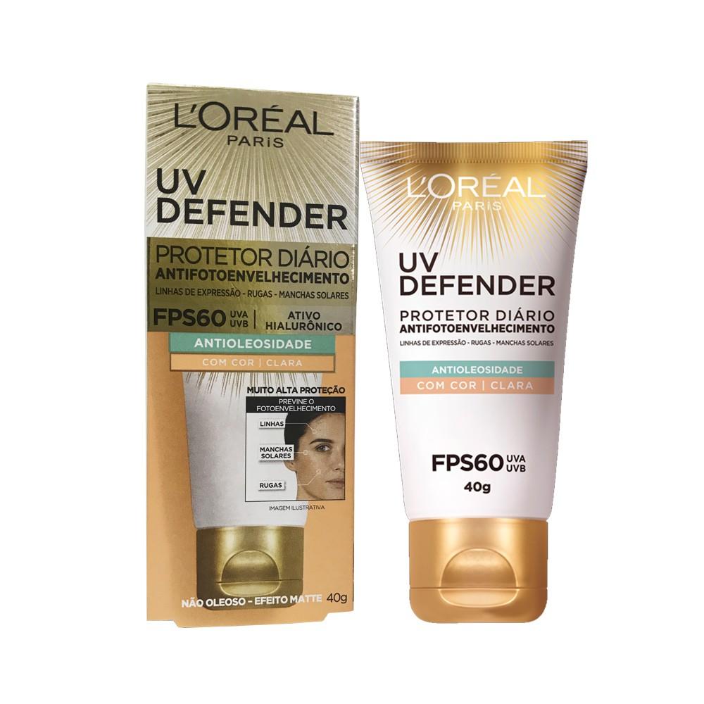 Protetor Solar UV Defender - FPS60 - Antioleosidade - Pele Clara - Efeito Matte - 40g - L'oréal Paris
