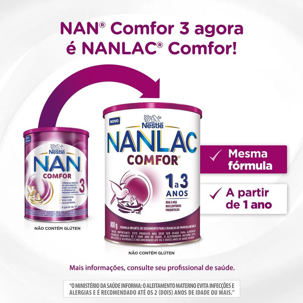 Leite em Pó Infantil NAN Comfor 3 > NANLAC Comfor om 800g - Crianças a Partir de 1 a 3 anos - Nestlé