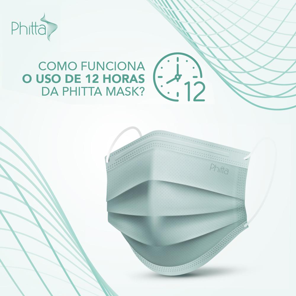 Máscara Descartável Cirúrgica Efeito Virucida - Uso por até 12h - com Elástico - com 50 unidades - Phitta