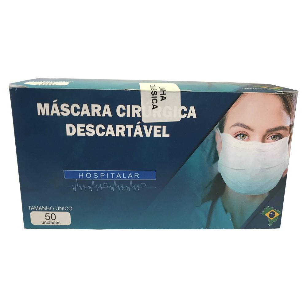 Máscara descartável cirúrgica tripla com elástico - embalagem c/50 unidades - hospitalar