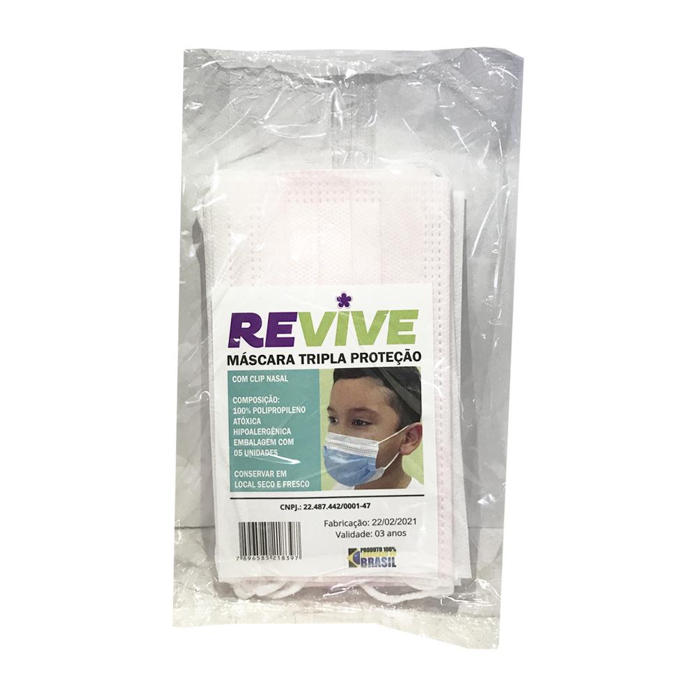 Máscara Descartavel Infantil - Tripla Proteção - Hipoalergênica - Embalagem com 5 unidades - Revive