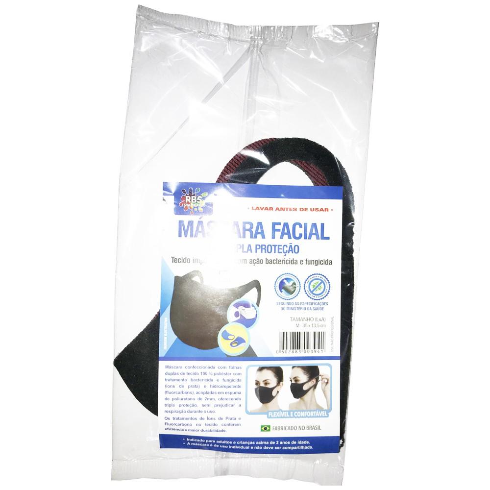 Máscara em Tecido Neoprene - Tripla Proteção com Tratamento de Íons de Prata e Fluorcarbono - Lavável e Reutilizável