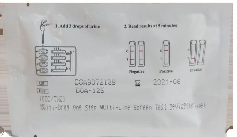 Teste detecção de drogas pela urina - multi droga 02 - coc/thc - abon alere