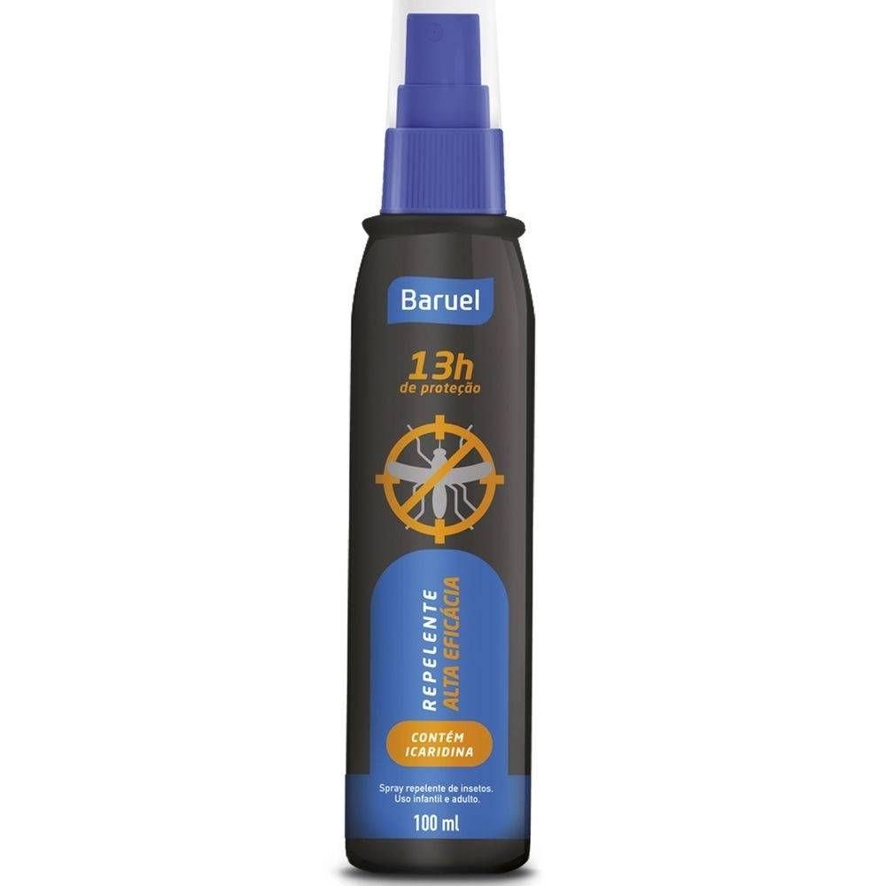 Repelente alta eficácia spray - até 13h de proteção - com icaridina - adulto e infantil - 100ml - baruel