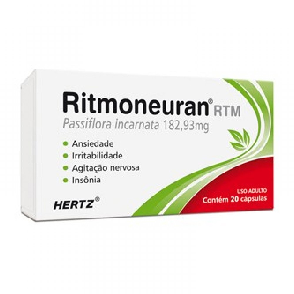 Ritmoneuran rtm - calmante natural - passiflora incarnata - c/ 20 cápsulas