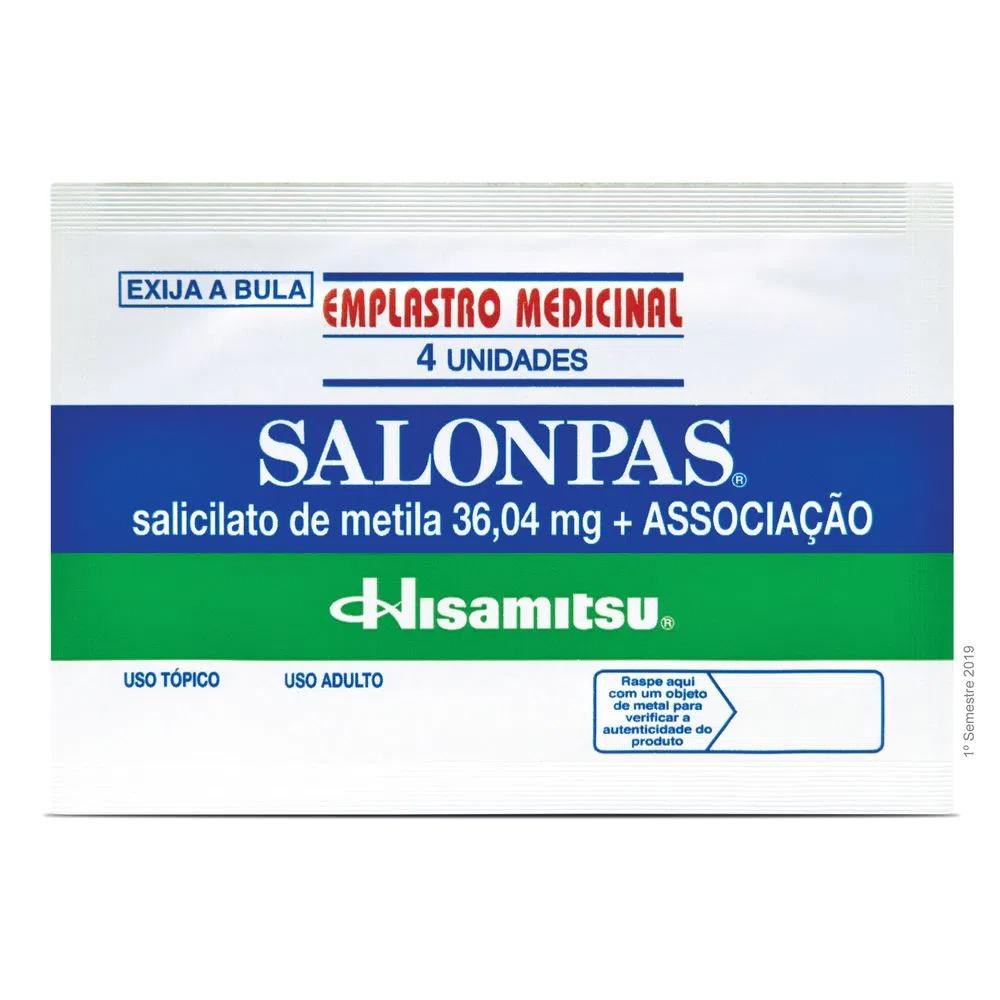 Salonpas Adesivo - Tamanho Pequeno 6,5X4,2cm com 4 Unidades - Hisamitsu