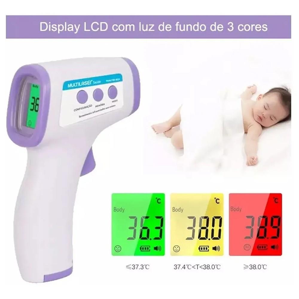 Termômetro digital laser infravermelho - Medidor de Temperatura e Febre - Multilaser