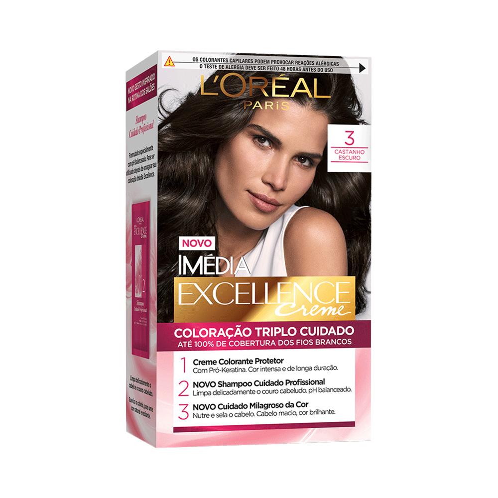 Tintura Imedia Excellence - Castanho Escuro nº 3 - L'oréal Paris
