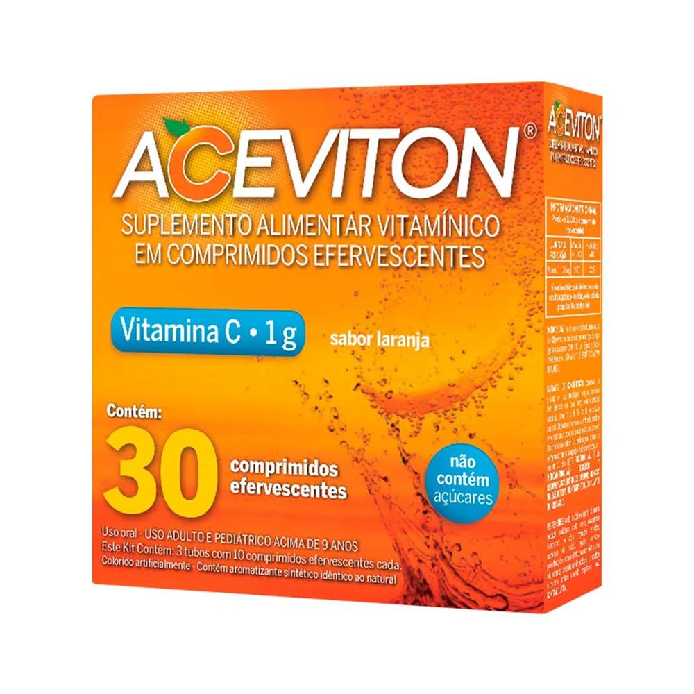 Aceviton - Vitamina C 1g - Sabor Laranja - 30 Comprimidos Efervescentes