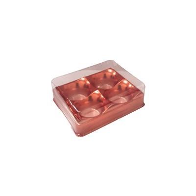 Caixa Plástica p/ Doces 4 Cavidades Vermelho Metalizado - Flip Festas
