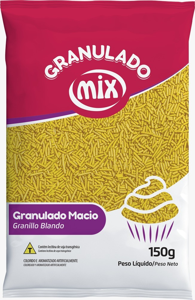 Confeito Granulado Macio Amarelo 150g - Mix