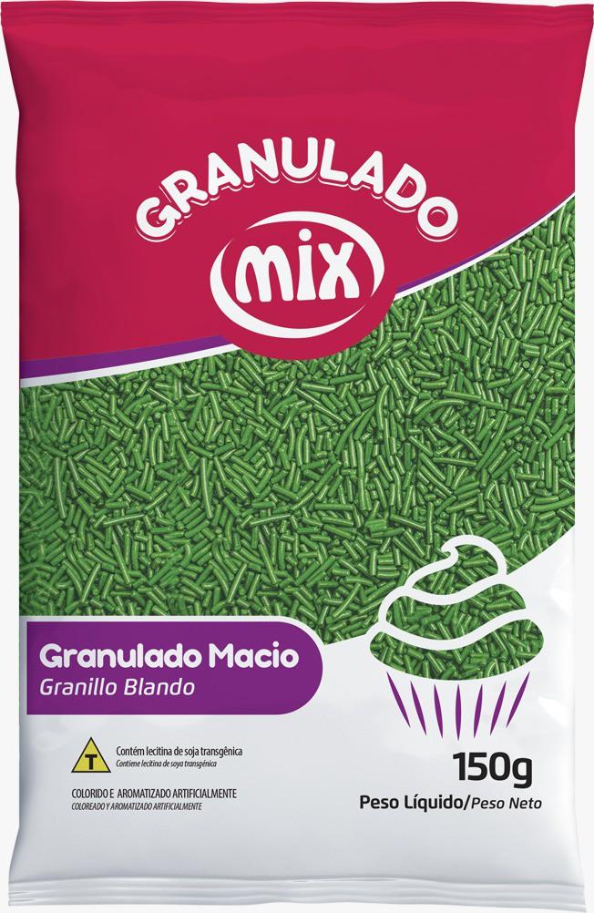 Confeito Granulado Macio Verde 150g - Mix