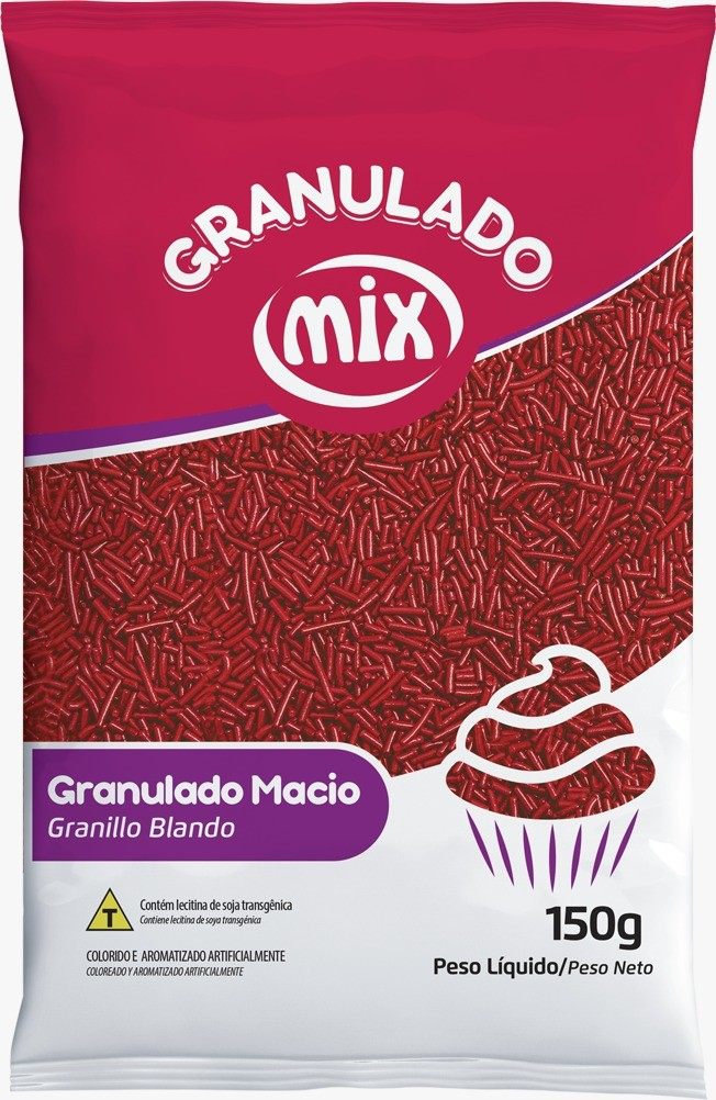 Confeito Granulado Macio Vermelho 150g - Mix