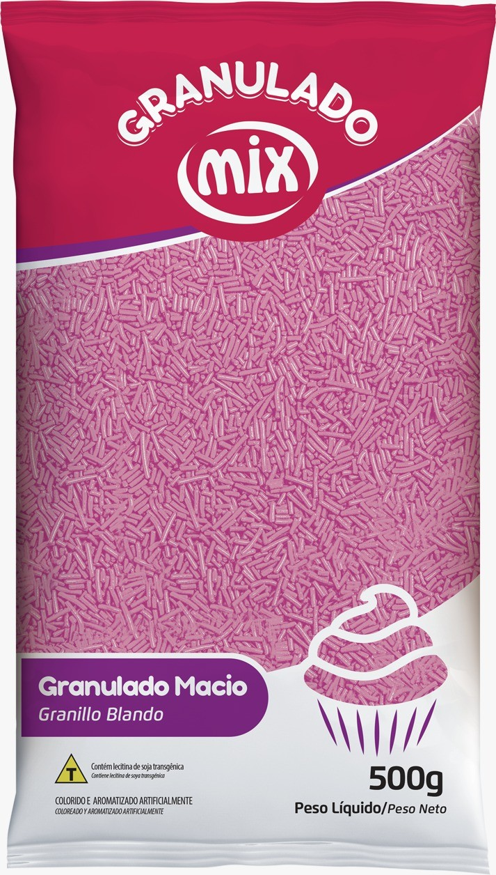 Confeito Miçanga Rosa 500gr - Mix